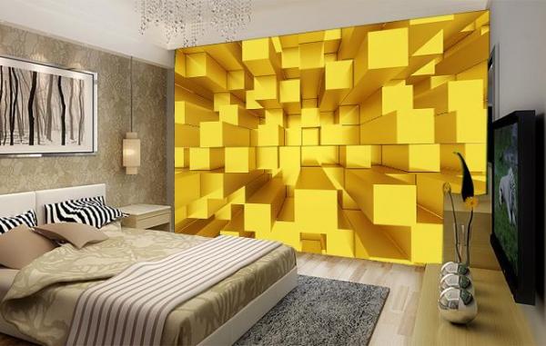 پوستر دیواری طرح مکعب های سه بعدی طلایی