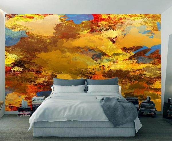 پوستر دیواری نقاشی هنری با رنگ زرد و نارنجی