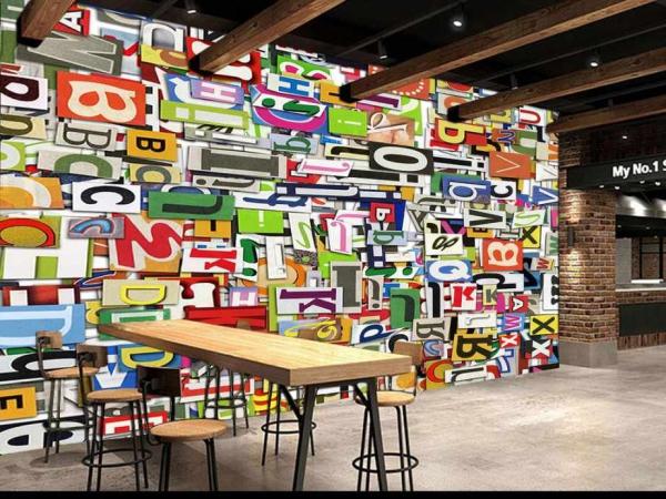 کاغذ دیواری سه بعدی طرحی از حروف انگلیسی درهم