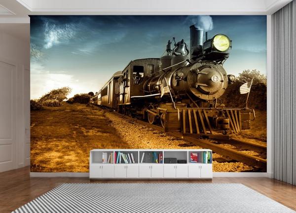 کاغذ دیواری سه بعدی قطار درحال حرکت