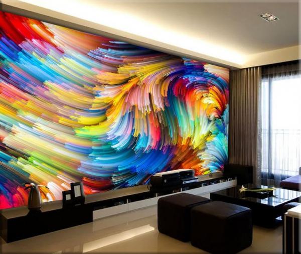 پوستر دیواری طرحی از رنگ های درهم و رنگی