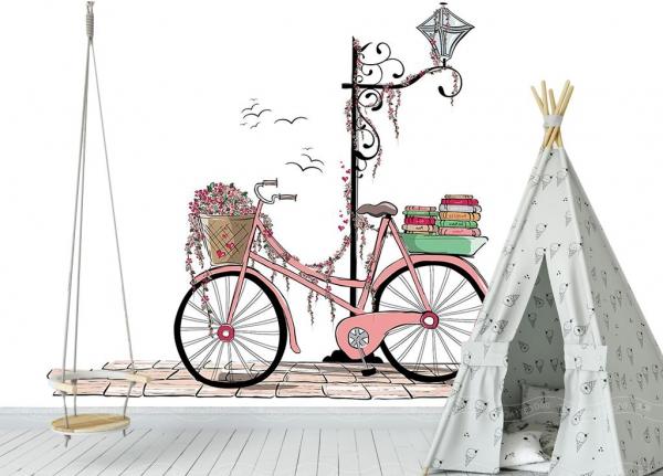 پوستر دیواری دوچرخه فانتزی صورتی