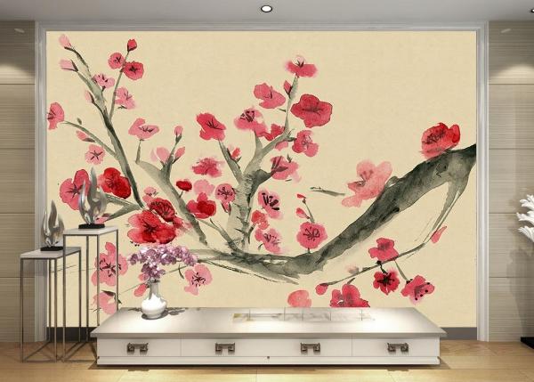 پوستر دیواری نقاشی ابرنگی گل های قرمز