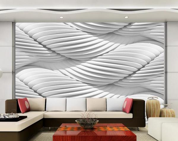 پوستر دیواری طرح سه بعدی سفید مارپیچی