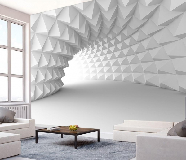 پوستر دیواری طرح تونل سه بعدی سفید