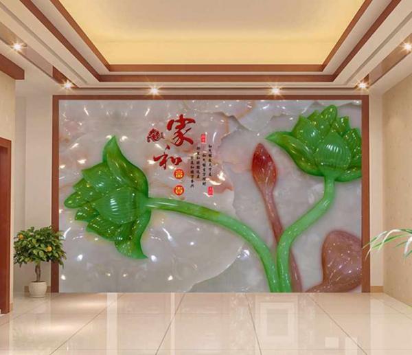 پوستر دیواری شاخه گل های براق سبز