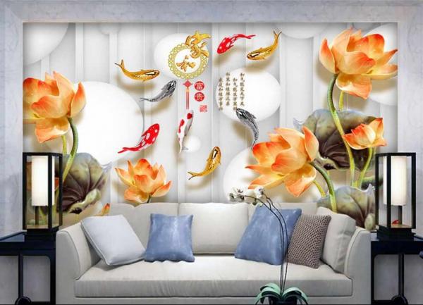 پوستر دیواری گل ها و ماهی ها