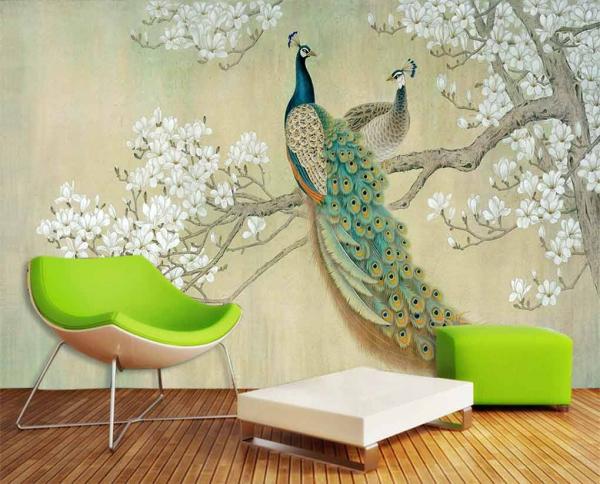پوستر دیواری شاخه درخت و خودنمایی طاووس
