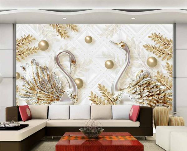 پوستر دیواری طرح قو های طلایی