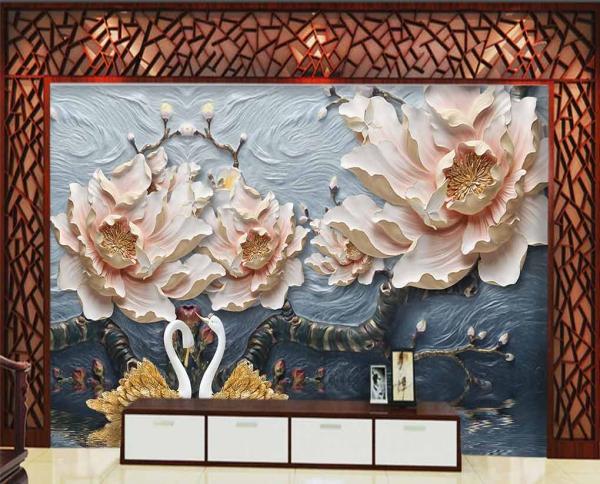 ََپوستر دیواری طرح گل های هنری و سه بعدی