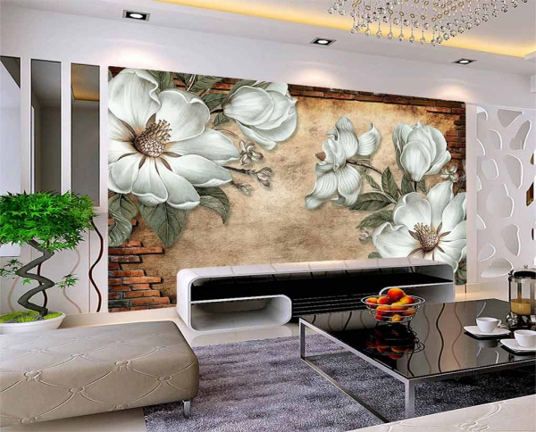 پوستر دیواری طرح سه بعدی گل های هنری