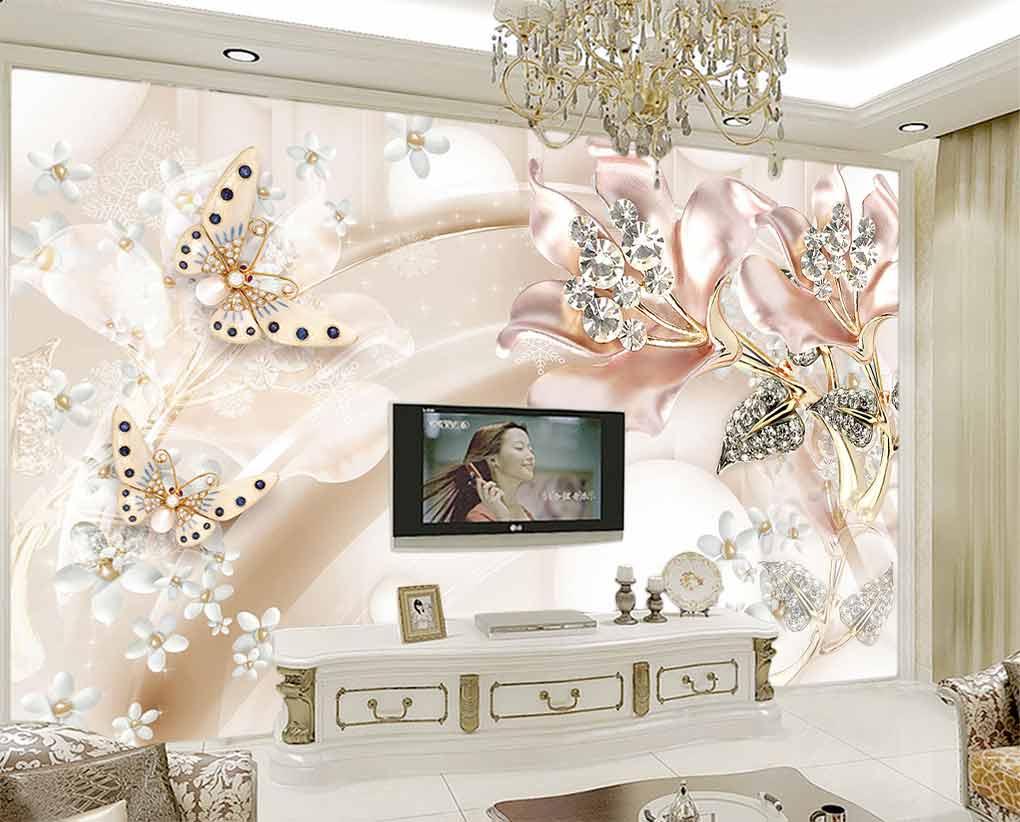 پوستر دیواری طرح گل های نگینی و پروانه