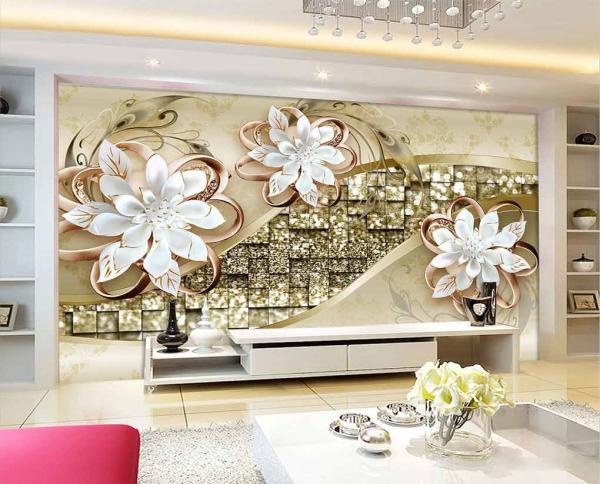 پوستر دیواری طرح گل با زمینه طلایی نگینی