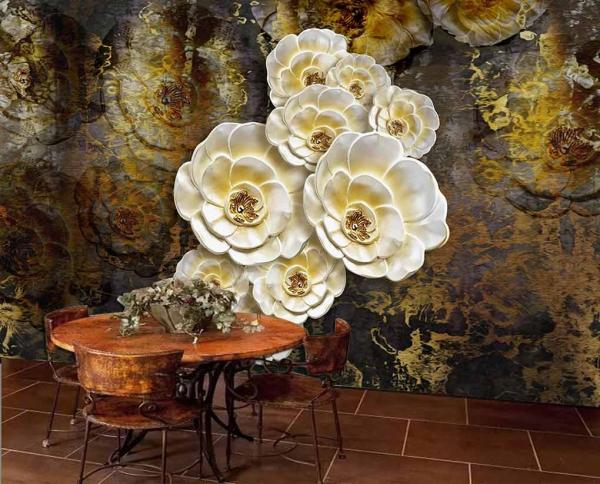 پوستر دیواری طرح گل های هنری سفید