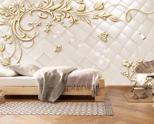 پوستر دیواری طرح گل با زمینه سه بعدی