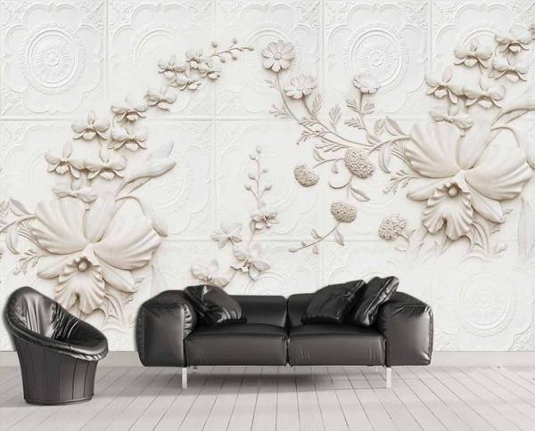 پوستر دیواری طرح گل های گچ بری