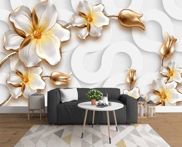 پوستر دیواری گل سفید طلایی با زمینه سه بعدی