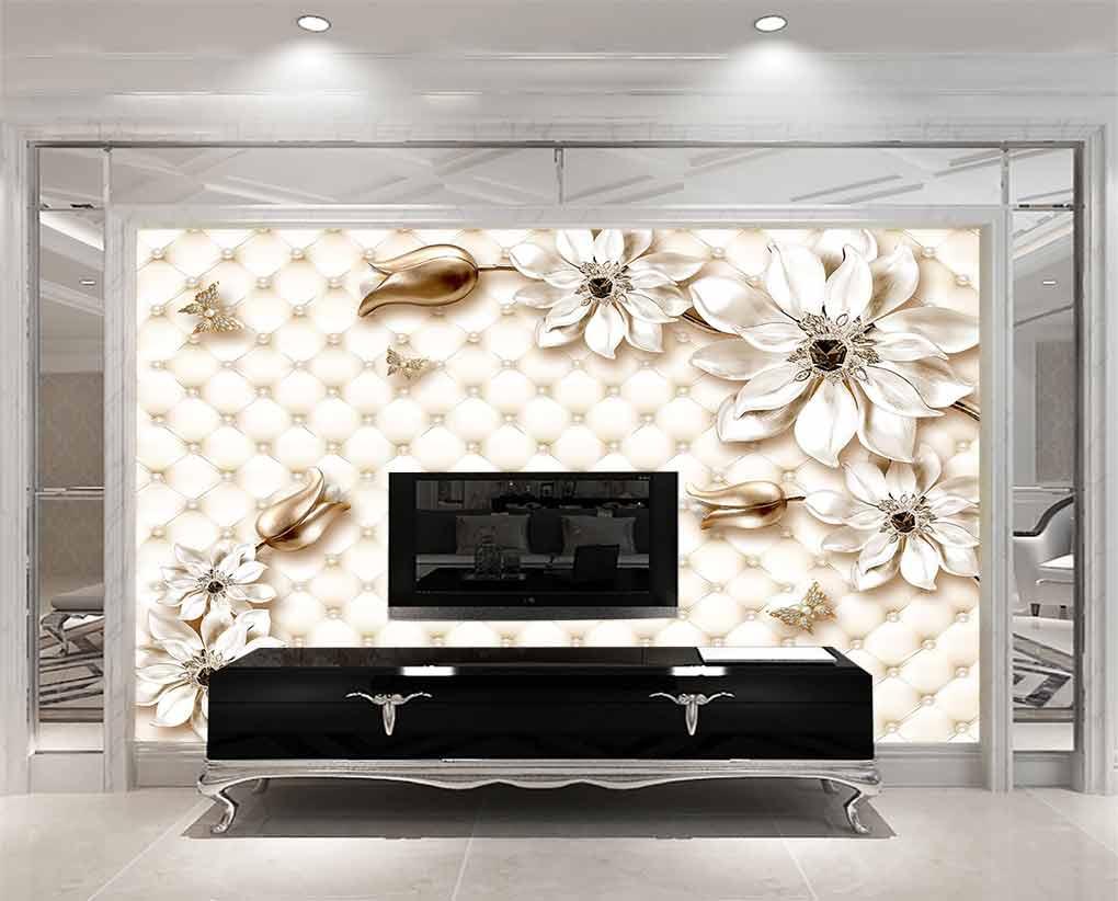 پوستر دیواری گل ها با زمینه لمسه کاری