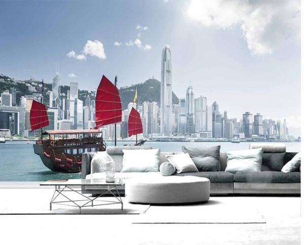 پوستر دیواری ساختمان ها و قایق تفریحی