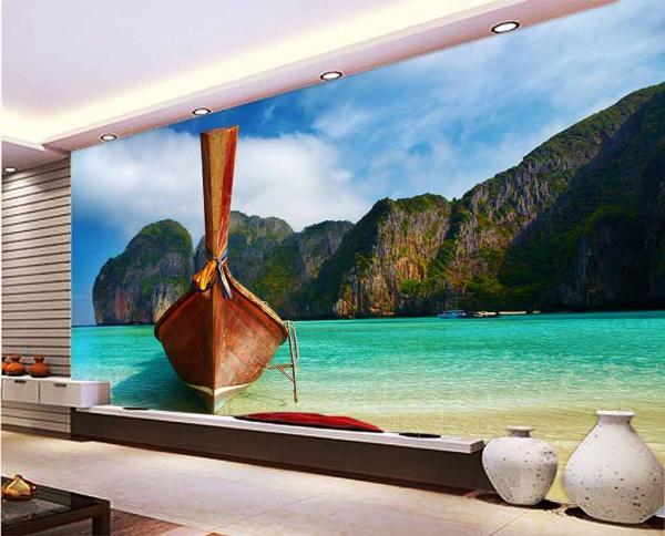 پوستر دیواری طرح دریا و قایق