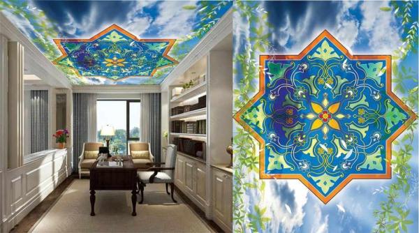 پوستر سقفی تلفیقی از اسمان و طرح سنتی