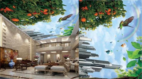 پوستر سقفی پرنده ودرخت پرتقال