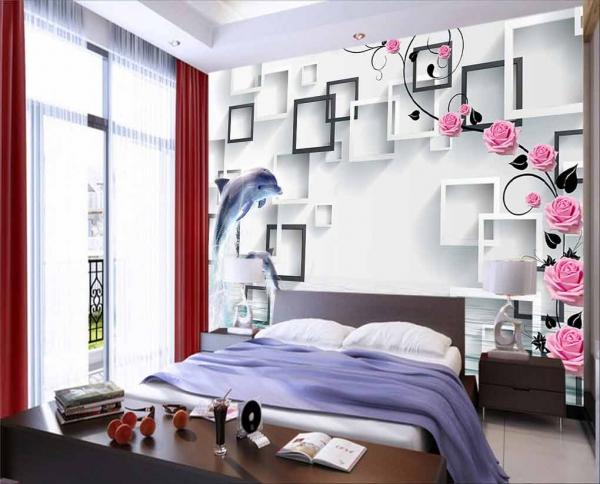 پوستر دیواری طرح گل های رز با زمینه سه بعدی