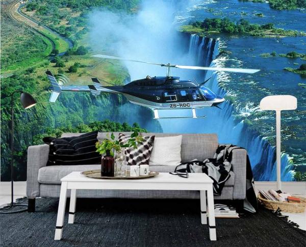 پوستر دیواری هلیکوپتر برفراز طبیعتی زیبا