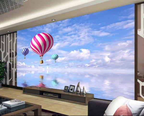 پوستر دیواری بالون های رنگی و آسمان آبی