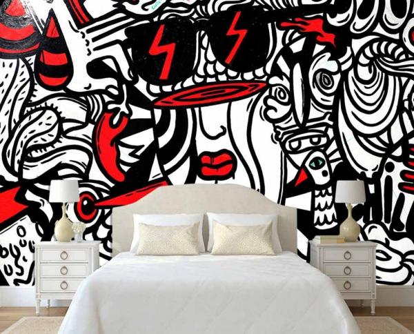 پوستر دیواری نقاشی سیاه وسفید و تک رنگ قرمز
