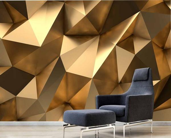 پوستر دیواری سه بعدی طلایی