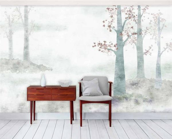کاغذ دیواری سه بعدی طرح طبیعت نقاشی سیاه و سفید