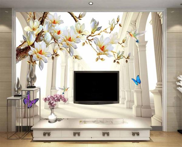 کاغذ دیواری سه بعدی طرح تونل با گل های سفید