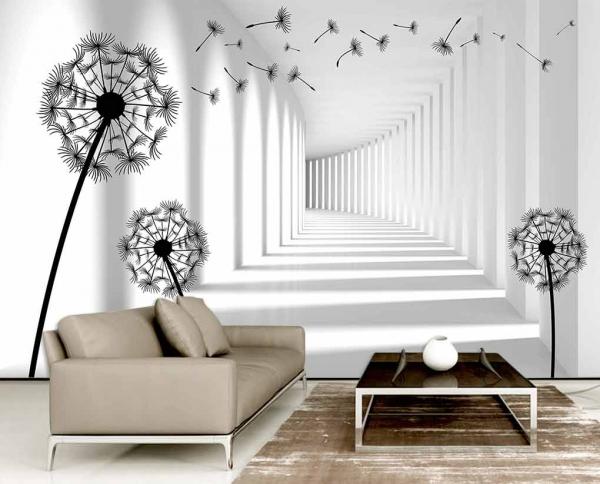 کاغذ دیواری سه بعدی تونل و قاصدک