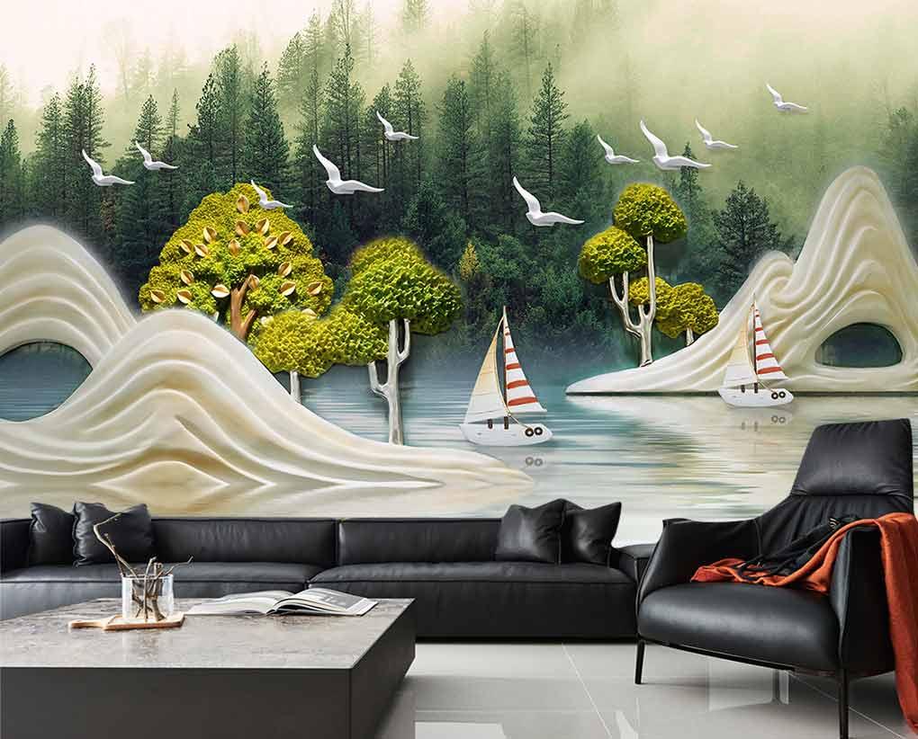 کاغذ دیواری سه بعدی طبیعت زیبای نقاشی