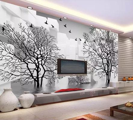 کاغذ دیواری سه بعدی درختان سیاه سفید