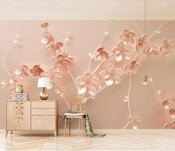 پوستر دیواری درخت صورتی و شکوفه