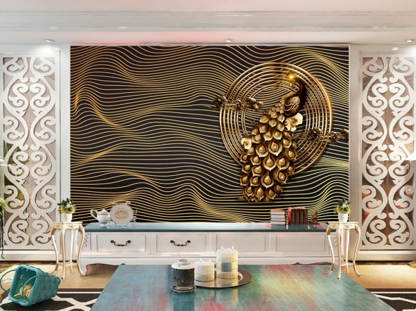 پوستر دیواری طاووس هنری طلایی