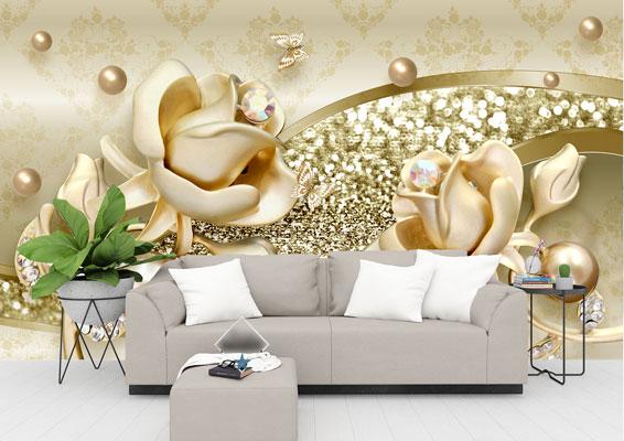 پوستر دیواری گل های طلایی نگینی
