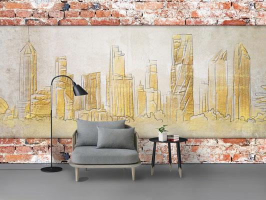 پوستر دیواری ساختمان های نقاشی