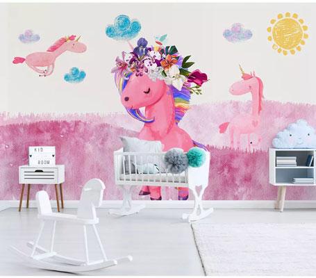 پوستر دیواری اسب تک شاخ صورتی