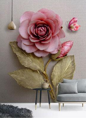 پوستر دیواری سه بعدی گل رز ایستاده