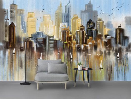 پوستر دیواری طرح هنری از ساختمان ها