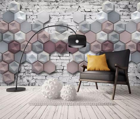 پوستر دیواری شش ضلعی سه بعدی