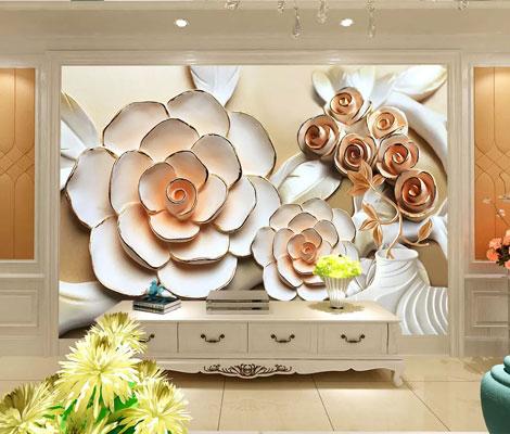 پوستر دیواری گل بزرگ سه بعدی